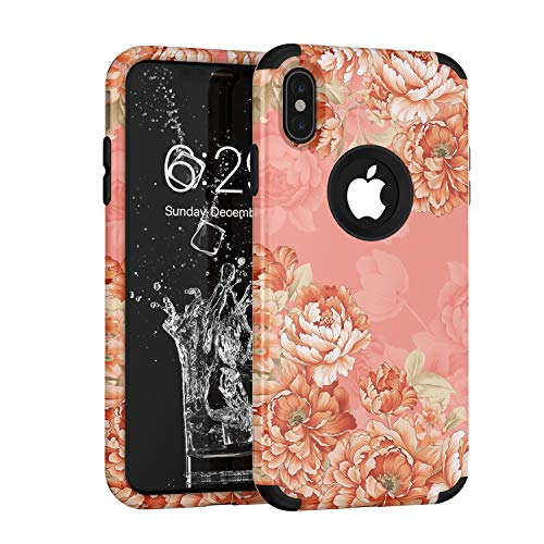 iPhone Xs Case,iPhone X Case, Yoomer 3 in 1 Unique Cute Flower Design Shockproof Hybrid Armor High Impact?Defender Case Silicone Rubber Skin Hard Back Cover Combo Bumper Case for iPhone Xs/X 5.8