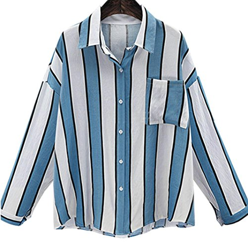 Koly Las señoras de rayas Turn-Down Collar con bolsillo Vintage manga larga Blusa Azul