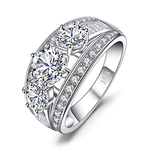 JewelryPalace 925 Sterling Silver Anniversary Promise Wedding Band Rings For Women 3ct Cubic Zirconia 3 Stone Statement Ring Size 8 ()