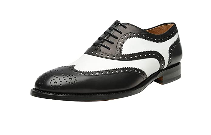 1950s Mens Shoes: Saddle Shoes, Boots, Greaser, Rockabilly ROYAL WIND Geninue Leather Spectator Shoes Mens Black White Lace Up Wing Tip Perforated Dress Shoes £75.08 AT vintagedancer.com