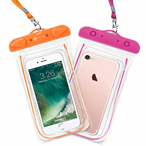 Waterproof Case, 2 Pack F-color Clear Waterproof Pouch Dry Case Bag Compatible with iPhone X 7 7 Plus Home Button, Snow Sand Dust Proof for iPhone 7 6S 6 Plus SE, Samsung, HTC, LG, Orange Pink
