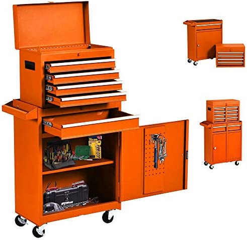 5-Drawer Rolling Tool Chest High Capacity Organizer Tools Cabinet with Wheels, Drawers and Locking System, Removable Toolchest for Garage and Warehouse Orange