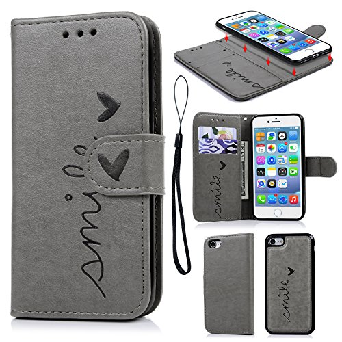 iPhone 7 Wallet Case, iPhone 8 Case Embossed Love PU Leather Case Full Protective Anti-Scratch Resistant Cover Magnetic Case Slot Wrist Strap Case for iPhone 7 & iPhone 8
