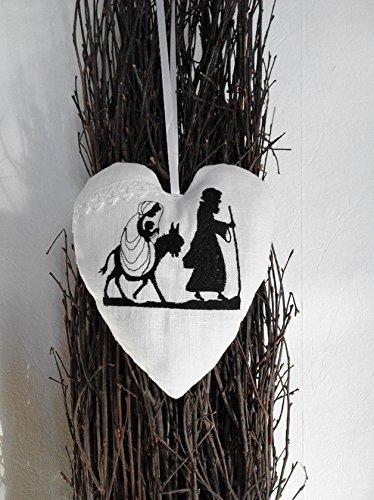 Weihnachten Scherenschnitt.Herz Maria Und Josef Scherenschnitt Bestickt Leinen Spitze