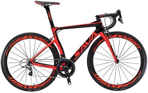 SAVADECK Phantom 2.0 700C Bicicleta de Carretera de Fibra de Carbono Shimano Ultegra R8000 22-Velocidad Sistema Michelin 25C Neumáticos Fizi: k Cojín