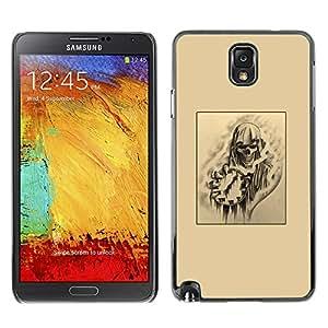 Planetar® ( Skull Death Time Rock Metal Black Art ) SAMSUNG Galaxy Note 3 III / N9000 / N9005 Fundas Cover Cubre Hard Case Cover