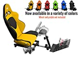 Openwheeler GEN2 Racing Wheel Stand Cockpit YELLOW on Black | For Logitech G29 | G920 and Logitech G27 | G25 | Thrustmaster | Fanatec Wheels | Racing wheel & controllers NOT included