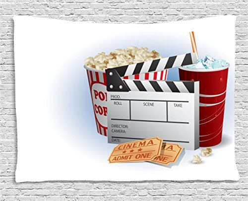 Movie Theater Tapestry, Soda Tickets Fresh Popcorn and Clapper Board Blockbuster Premiere Cinema, Wall Hanging for Bedroom Living Room Dorm, 60 W X 40 L Inches, Multicolor