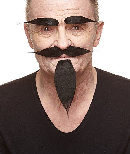 Mustaches Self Adhesive, Novelty, Hairy Russian Fake Beard, Fake Mustache and Fake Eyebrows, Black -