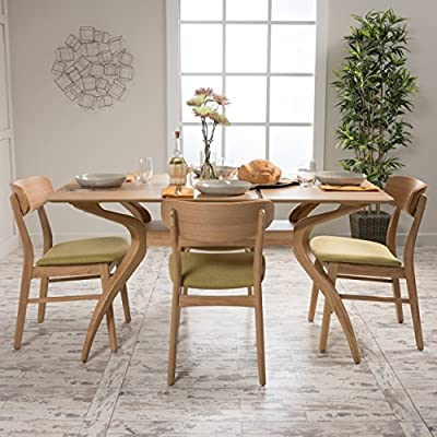Christopher Knight Home Lucious Curved Leg Rectangular Dining Set, 5-Pcs Set, Natural Oak / Green Tea - Includes: one (1) table and four (4) chairs The table and four slat Back bar Stools with comfortable Micro fiber seats Complete this Handsome set The dining chairs feature a sturdy design with soft fabric cushioned seats, providing both comfort and style for your dining pleasure. - kitchen-dining-room-furniture, kitchen-dining-room, dining-sets - 51G0kQjk11L. SS400  -