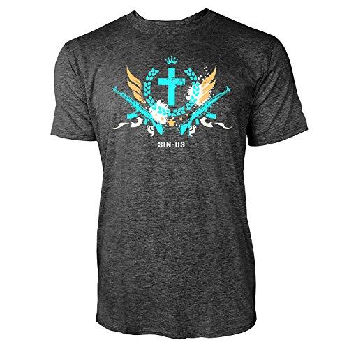 SINUS ART ® Grunge Gang Design mit Kreuz Herren T-Shirts in dunkelgrau Fun Shirt mit tollen Aufdruck