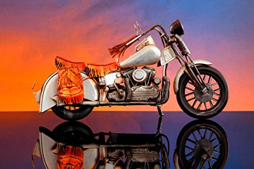 Scaled Vintage Chopper Motorcycle with Saddlebags Photo Art