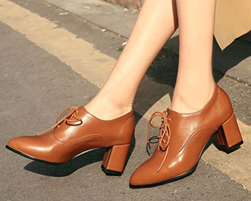 Up Waterproof School Brown Chunky Leather Lace Block Oxford Bootie Brogue Women's Heels Shoes Girls HiTime Shoes w5IqA0x