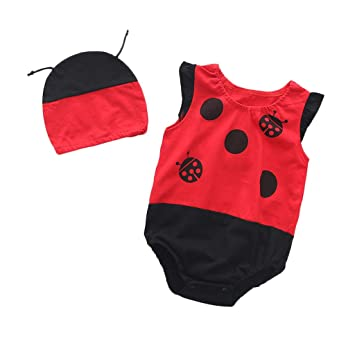 7f3fea986d Amazon.com : Baby Summer Romper for Baby Boy Girl Sleeveless Ruched  Bodysuit+Hat Outfits Set, Newborn Cartoon Fruits Print Cotton Clothes  (12-18 Months, ...