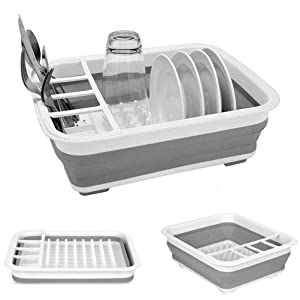 Collapsible Drying Dish Rack Portable Drainer Dinnerware Organizer Kitchen RV Campers Storage