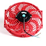 "12"" inch Slim Fan Push Pull Electric Radiator Cooling Fans 12V Mount Kit Unversal Red"