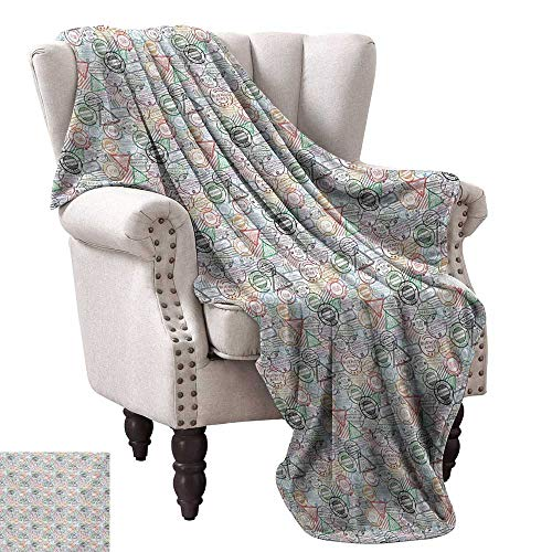 WinfreyDecor Colorful Home Throw Blanket Retro Postal Pattern Different Countries Traveling Tourism Elements Collection Home, Couch, Outdoor, Travel Use 30