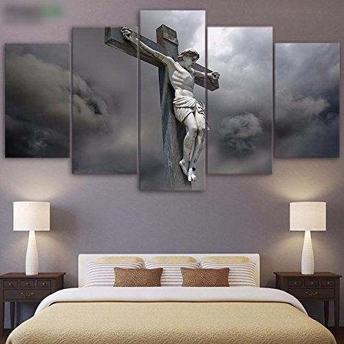 [LARGE] Premium Quality Canvas Printed Wall Art Poster 5 Pieces / 5 Pannel Wall Decor Christ on the Cross Painting, Home Decor Pictures - With Wooden (Christ Wood Cross)