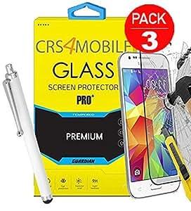 Pack de 3protectores de pantalla de cristal templado para Samsung Galaxy Xcover 3SM-G388F alta transparencia y ultra resistente incluye lápiz blanco antihuellas)