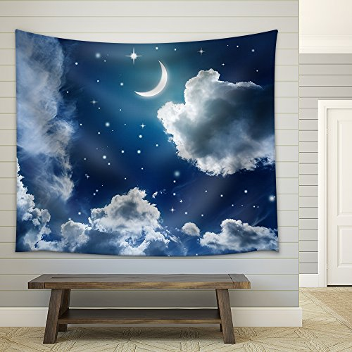 Night sky with stars and moon Fabric Wall Tapestry