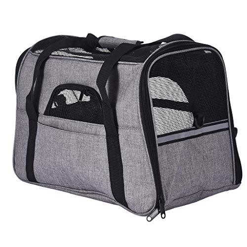 cobcob Pet Carrier Bag, Pet Traveling Bag Breathable Lightweight Luxury Soft Comfort Sided Portable Airplane Tote Bag Wide Shoulder Strip Hangbag for Dog/Cat/Puppy/Rabbit (Gray)