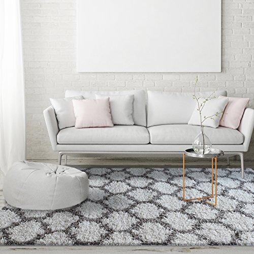 ICustomRug Soft And Plush Trellis Frise Shag Area Rug For Contemporary Interior