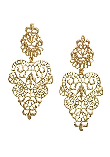 [Happiness Boutique Women Statement Earrings in Gold | Lace Inspired Chandelier Earrings nickel free] (Costumes Out Of Cardboard Box)