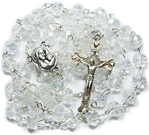 Clear Crystal Beads Rosary Catholic Necklace Holy Soil Medal with Crucifix