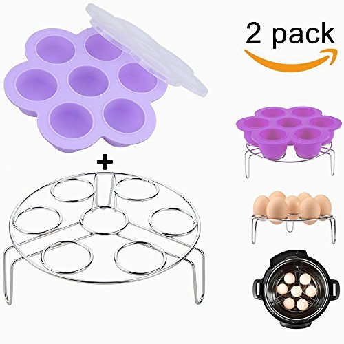 Purple Silicone Egg Bites Molds With Stainless Steel Egg Steamer Rack for Instant Pot Accessories, Pressure Cooker Food Steamer, Vegetable Steam Rack Stand and Reusable Storage Container (Steam Silicone Rack)