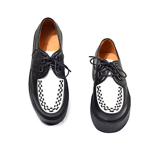 Homme Cuir Lacets Plateaforme Casual Chaussures Punk Creeper Oxfords FNZPSPn