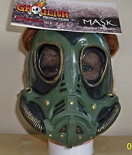 Zombie Military Costume (M3A1 Military Style Gas Mask Green Latex Zombie Apocalypse Costume Accessory)