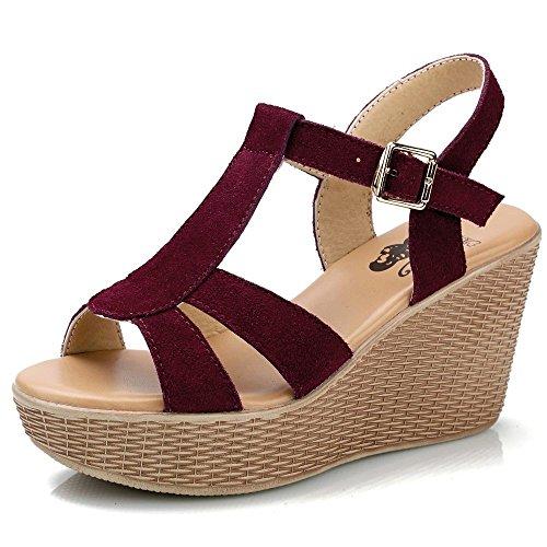 Xing Lin Sandalias De Cuero Pendiente Con Sandalias Mujer Pastel De Verano Calzado Casual Zapatos Con Plataforma Tacones Sandalias De Roma Red wine