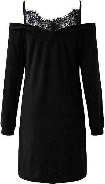 Goosuny Damska Herbst Kleid Mit Spitze Trägerkleid Langarm Schulterfrei Pullover Kleid Sweatshirt Kleid Sweatkleid Schicke Kurz Frauen Partykleid: Odzież