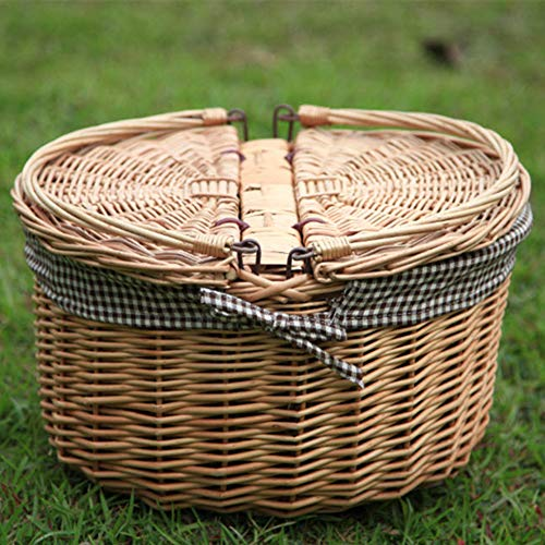 LTLSF Big Round Wicker Picnic Basket Vintage Oval Fruit Storage Basket with Folding Handle & Cover Willow Picnic Basket Hamper
