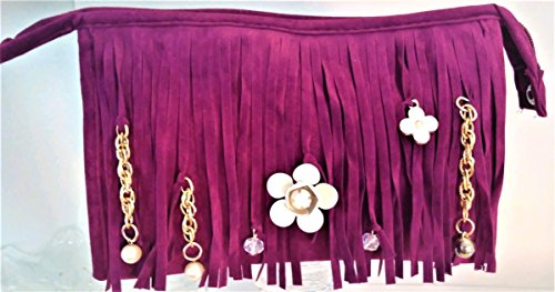 HOLIDAY GIFT IDEA!! Fringe Pochette Clutch Purse Camelia Rose Bloom Fringe Beaded Handbag. Cosmetic Toiletry Case. Handcrafted with Clover Flower charms. ROYAL PURPLE. Gift