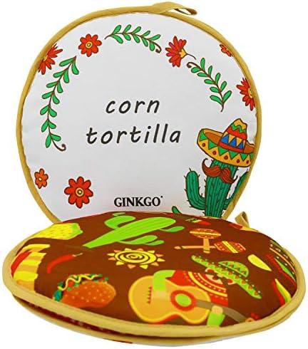 para microondas bolsa t/érmica aislada tela mexicana bolsa de calentador de tortillas de 8.6 pulgadas soporte para tortillas bolsa de tela para mantener la comida caliente Calentador de tortillas