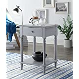 Grey Finish Wooden Turned Legs Nightstand Side End Table with Drawer by eHomeProducts