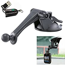 ChargerCity Exclusive Stick-On Articulate Sticky Windshield Dashboard Suction Mount for Garmin Dash Cam 10 20 35 & nuviCam LMTHD sm-n900v GPS (Include Free Micro SD Memory Card Reader)