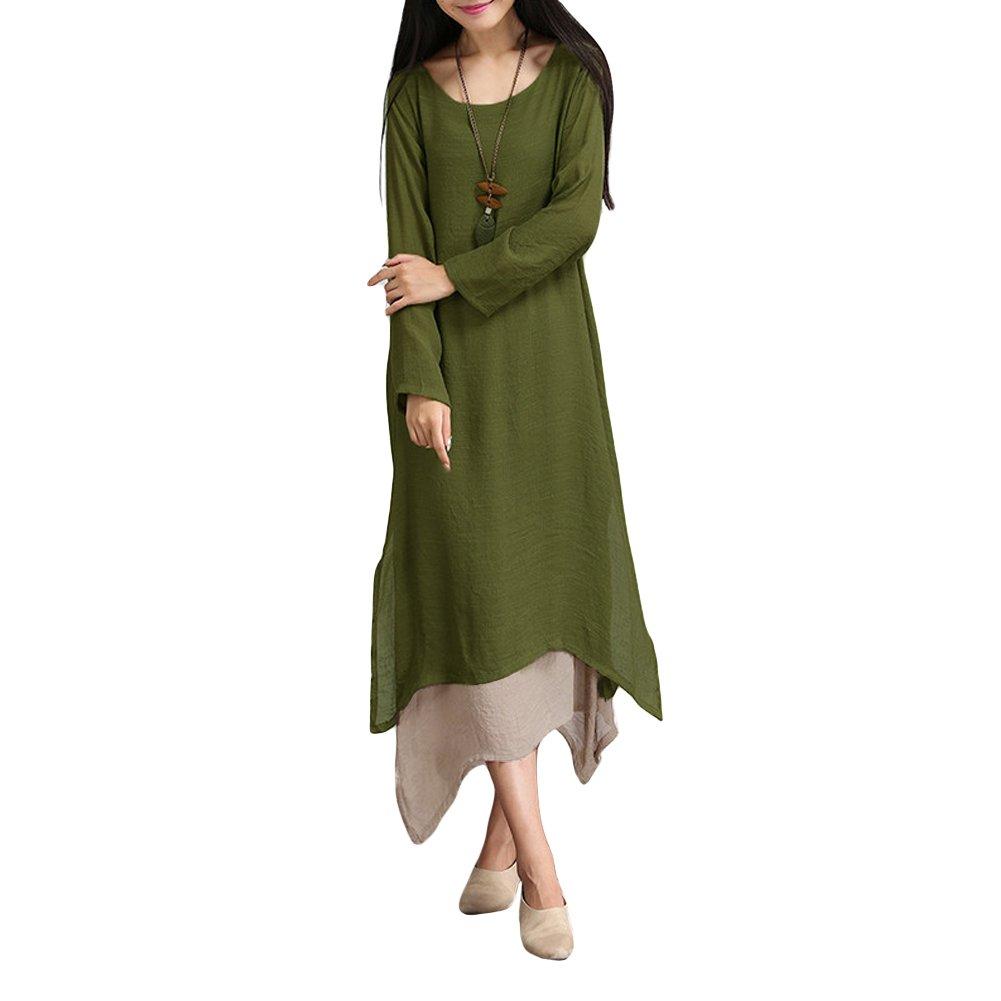 Romacci Women Casual Plus Size Dress Vintage Long Boho Maxi Dress (XL, Green)