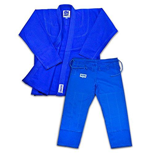 Brand Name Light Weight BJJ Gi Starter Bundle Includes Light Weight White Jiu Jitsu Belt And 2 Traininig DVD (Blue, A2)
