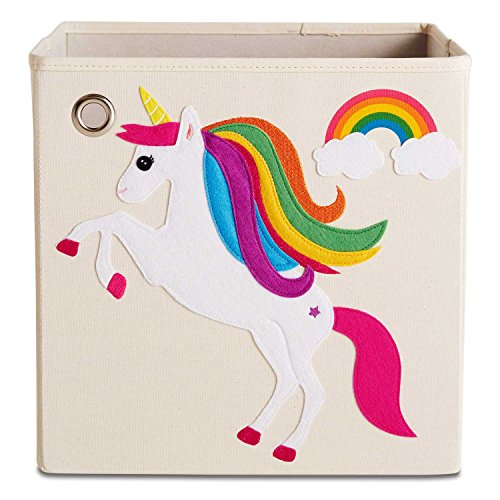 kaikai & ash Toy Storage Bins, Canvas Box Organizer, Kids 13 inch Cube - Rainbow Unicorn