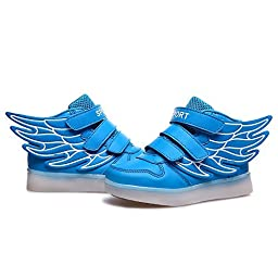 JustCreat Kid Boy Girl LED Light Up Sneaker Athletic Wings Shoe High Student Dance Boot USB Charge