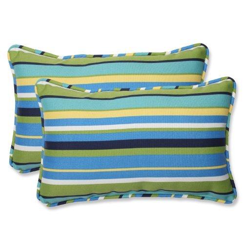 Pillow Perfect Outdoor Topanga Stripe Lagoon Rectangular Throw Pillow, Set of 2 [並行輸入品] B07RCVJ4KC