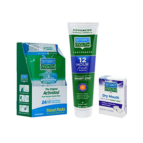 SmartMouth Original Activated Oral Rinse Travel Packs, Dry Mouth Mints and Premium (Gum Travel Pack)