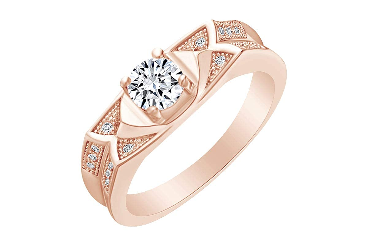 AFFY Round Shape White Cubic Zirconia Solitaire Fashion Engagement Ring 14k Gold Over Sterling Silver