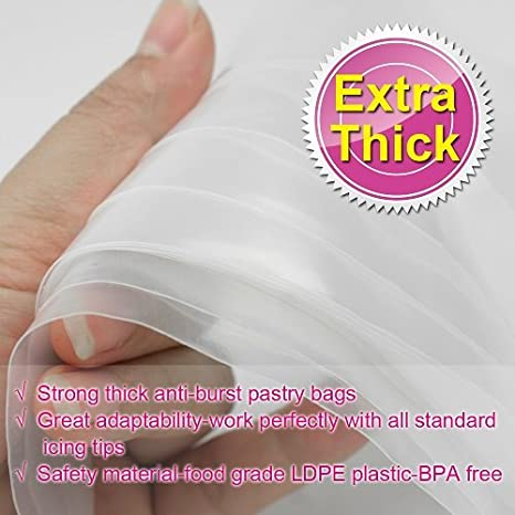 16 Inch Disposable Cake Decorating Bags Anti-Burst Cupcake Icing Bags for all Size Tips Couplers and Baking Cookies Candy Supplies Kits 50 Pack WOWMARK W41357 Weetiee Pastry Piping Bags