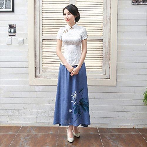 Shanghai Story Women Short Sleeve Chinese Blouse Cheongsam Top S White by Shanghai Story (Image #8)