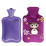 hiking water filters australia Xerhnan Rubber Hot Water Bottles bag with Knit Cover 1.8L Capacity - Purple