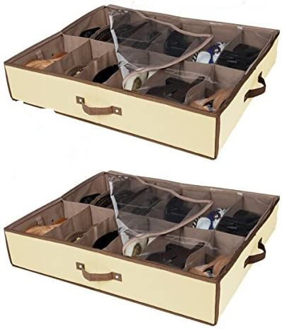 Amazon Com Set Of 2 Under Bed Shoe Storage All 4 Sides Is