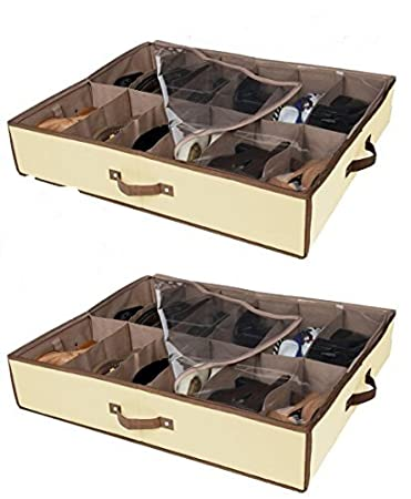 Sturdy Underbed Shoe Storage.Set Of 2 Under Bed Shoe Storage All 4 Sides Is Sturdy Drawers Closet Box Organizer Natural Canvas With See Through Top Brown Trim Size 23 X